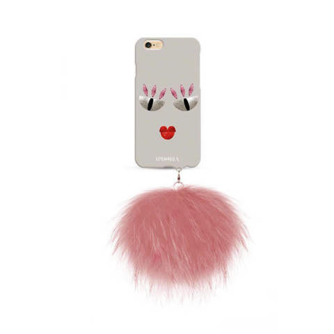 Monster au Portable Pastellina with rose raccoon pom pom for iPhone 6 / 6s