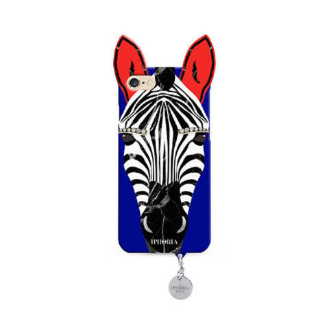 Wild Case Blue Zebra with Silver Pendant for iPhone 7/8
