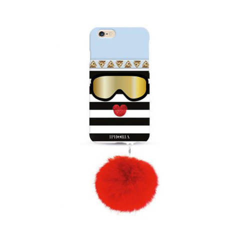Monster Cool Ice with red colour Rabbit Pom Pom for iPhone 6 / 6s