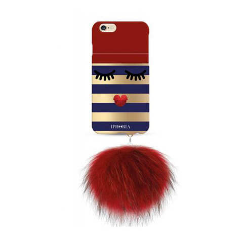 Monster Golden Stripes with red racoon pom pom for iPhone 6 / 6s