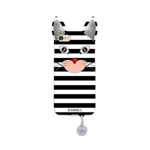 Wild Case Stripy Cat with Silver Pendant for iPhone 7/8