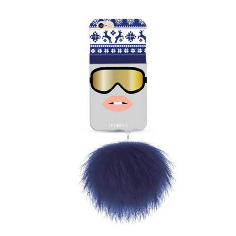 Monster Stylish Snow with blue raccoon pom pom for iPhone 6 / 6s