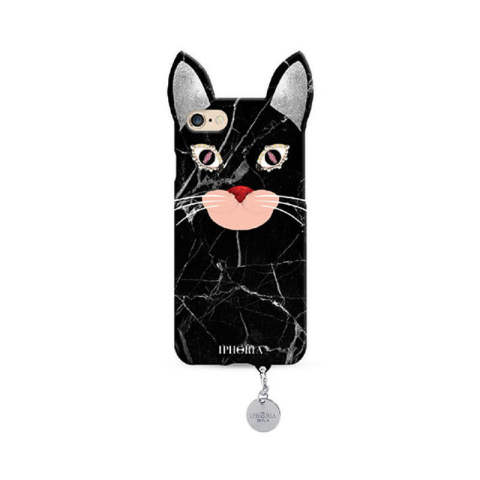 Wild Case Marble Cat with Silver Pendant for iPhone 7/8