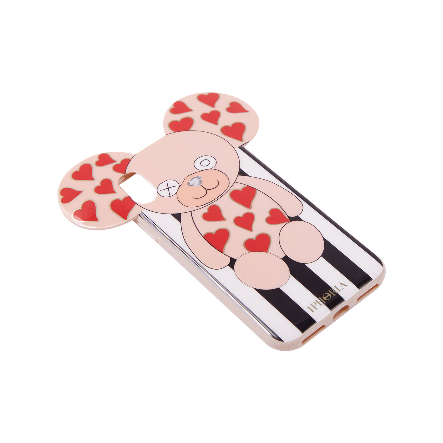 Case for Apple iPhone X/XS - Teddy with Hearts Stripes Black and White