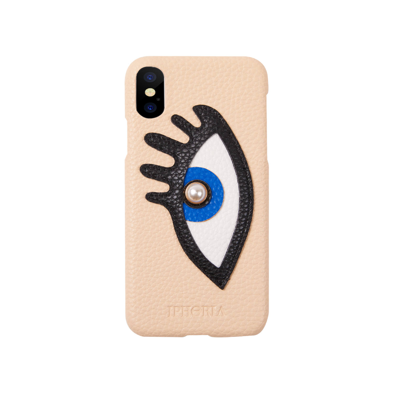 Veggie Leather Case for Apple iPhone X/XS - Beige with Blue Eye