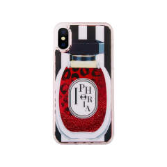 Liquid Case for Apple iPhone X/XS - Perfume Round Red and Black and White Stripes