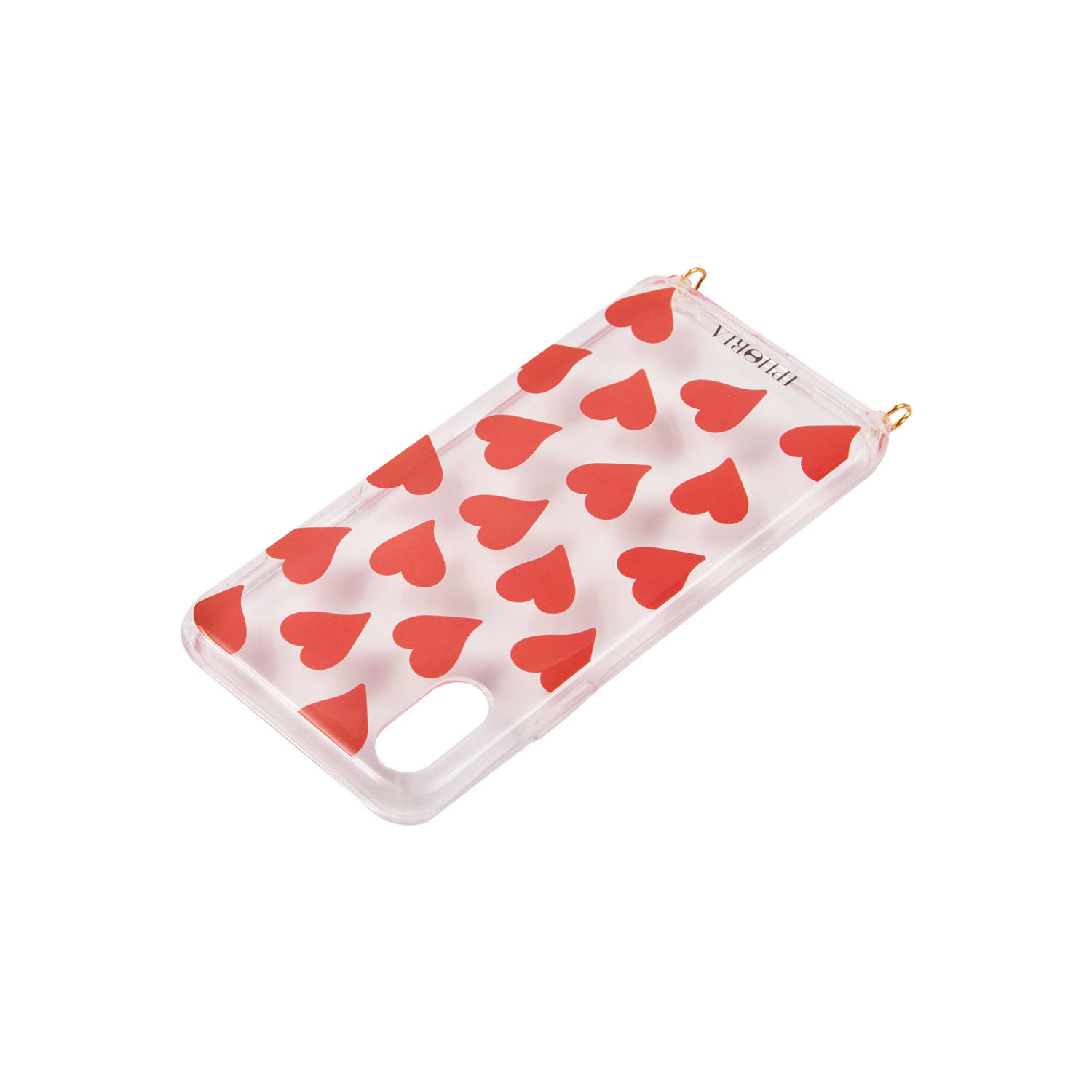 Necklace Case for Apple iPhone X/XS - Transparent Hearts