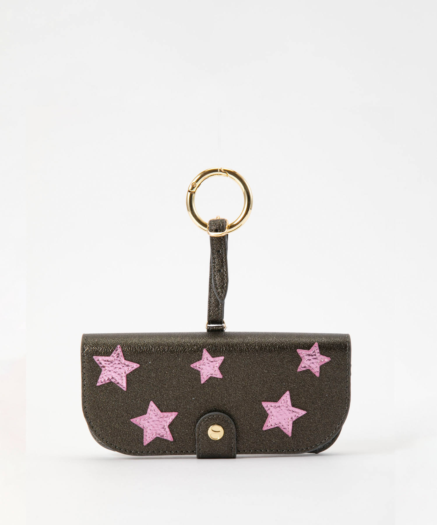 Glasses Case with Bag Holder - Olive Green With Pink Stars & hook in gold