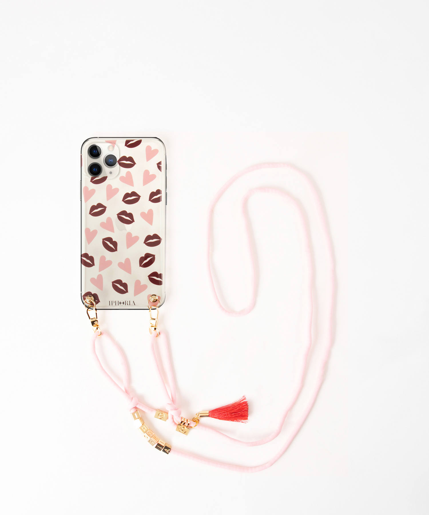 Necklace Case for Apple iPhone 11Pro Max - Lips & Hearts